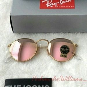 Ray-Ban Round Metal Pink Flash RB3447 New